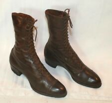 Antique Cap Toe Lace Up Ladies Leather Boots - Endicott Johnson School Chum
