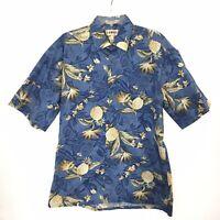 Campia Moda Mens Large Blue Floral Hawaiian Short Sleeve Button Front Shirt