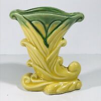 "Vintage Shawnee Cornucopia Flower Bud Vase USA 835 Yellow 4.75"" Tall 3"" Long"