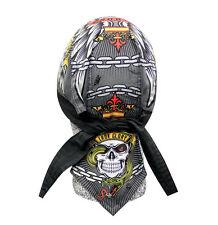 Iron Glory Chain Wings Skull Doo Rag Headwrap Cap Sweatband Capsmith Biker Durag