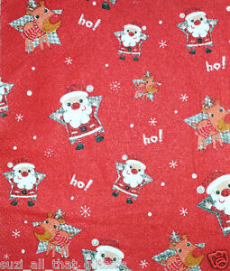 4 x  PAPER NAPKINS: LITTLE SANTAS, REINEERS  for TABLE, DECOUPAGE & CRAFTING