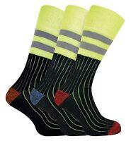 3 Pairs Mens Cushioned Reinforced Heel Toe Heavy Duty Cotton Hi Viz Work Socks