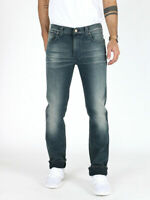 Nudie Herren Slim Fit Painted Look Stretch Jeans - Slim Jim Scraped - W32 L32