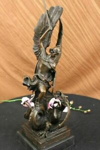 "19"" Hot Cast Bronze Archangel Saint Michael Religious Statue Figurine Decor Sale"