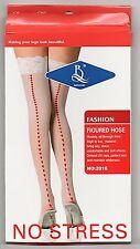 Nylon Braut Straps-Strümpfe mit Spitze und Herzchen - Naht weiß rot Kostüm Neu