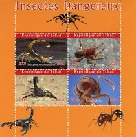 Chad Spiders Stamps 2020 MNH Dangerous Insects Scorpions Fire Ants Fauna 4v M/S