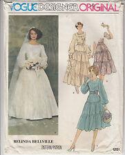 VOGUE 1251 Retro Bridal Gown Bridesmaid Petticoat Veil Pattern Bellville Size 10