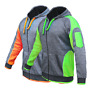 Hi Vis Jumper Jacket Hoodie Panel with Piping Fleece Full Zip Body Dark Marble