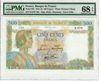 France 500 Francs Banknote 1942 Pick#95b PMG Superb GEM UNC 68 EPQ - Vintage