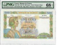 France 500 Francs Banknote 1942 Pick#95b PMG Superb GEM UNC 68 EPQ - Vintage