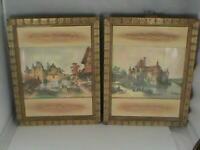 Pair of Vintage Sungott Studios Art Gravure Prints w Sculpted Frames Victorian