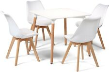 Toulouse Tulip Eiffel Style Dining Set 80cms Square White Table & 4 White Chairs