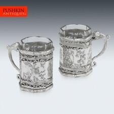 More details for antique 19thc chinese export solid silver tea glass holders, shanghai c.1880