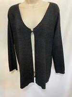 Chico's Black Gold Glitter Metallic Long Sleeve Cardigan Sweater Sz 2 (M-L)