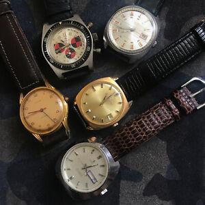 lot de 5 montres vintage Eterna, Lanco, Edox, Candino, Cupillard Rieme vendues e