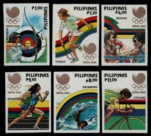 Philippinen 1988 - Mi-Nr. 1884-1889 B ** - MNH - ungez. / imp - Olympia Seoul