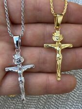Real Solid 925 Sterling Silver Plain Gold Cross Jesus Crucifix Pendant Necklace