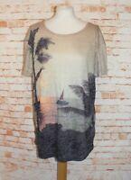 Next summer tunic top/t-shirt size 10 beach/palm tree print short sleeve beige