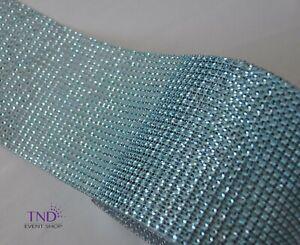 """4.75""""x 1 YD/3 YDS DIAMOND MESH WRAP ROLL CRYSTAL RHINESTONE SPARKLE BLING RIBBON"""