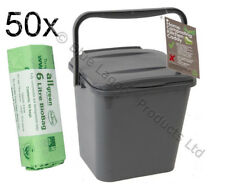 5L Kitchen Compost Caddy Bin Eco Food Waste Recycle Recycling with 50 Bin Liners