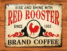 "TIN SIGN ""Old Red Rooster Coffee"" Kitchen Chicken Rustic Wall Decor"