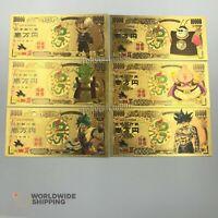 Lot 6 x Billet de 10000 Yen Dragon Ball Z DBZ Gold / Carte Card Carddass / Goku