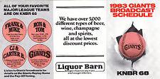 1983 SAN FRANCISCO GIANTS BASEBALL BROADCAST UNFOLDED POCKET SCHEDULE