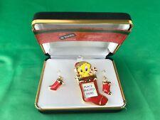 Stunning Tweety Bird (2000) Christmas *Disney pin & Earrings Set In Box