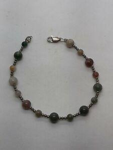 "Sterling Silver Moss Jasper Agate 925 Bead Beaded 7 1/4"" Bracelet"