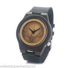 Damen Uhr Armbanduhr Quarzuhr Holz Reindeer Analog Lederband Watch Mode 24cm