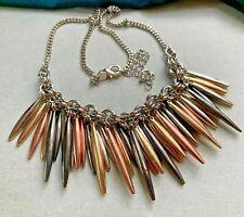 Marks Spencer's Heavy Metal Fringe Necklace Gold Rose Gun Metal Tones M&S Spike
