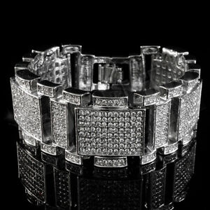 14k White Gold Plated Out Iced Simulated Diamonds Silver Mens Hip Hop Bracelet