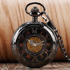 Luxury Flower Hollow Roman Numerals Mechanical Hand Winding Pocket Watch Chain