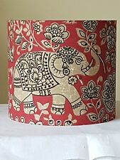 HANDMADE 20cm FABRIC LAMPSHADE INDIRA ELEPHANT CHILLI RED COUNTRY COTTAGE FARM