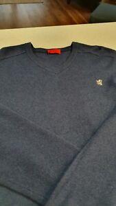 Navy Pringle 100% Wool Jumper Size Large