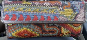Designer PINEDA COVALIN Floral Long Wallet Clutch Mexican Folk Art NWOT