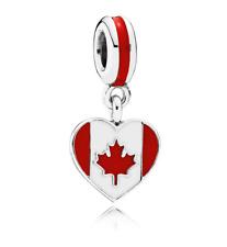 "Genuine Pandora Charm Bead ""Canada Heart Flag"" 791954ENMX"
