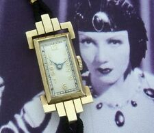 Ladies' Antique Vintage SOLID GOLD Aztec Hinged Lug Deco Wrist Watch - SERVICED