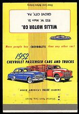 Billboard 1952 CHEVROLET Cars & Trucks WILLIS MOTOR Grove City PA Chevy VINTAGE