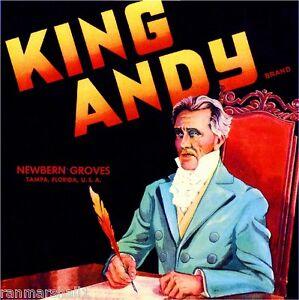 Tampa Florida King Andy Andrew Jackson Orange Citrus Fruit Crate Label Art Print