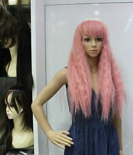 Cos pink blonde long wavy cosplay wig +wig cap H210