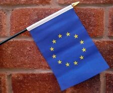 "EUROPEAN UNION HAND WAVING FLAG Small 6"" x 4"" with black pole EURO BLUE STAR"