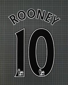 ROONEY #10 2007-2013 Player Size Premier League Black Nameset Lextra