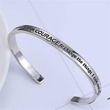 Fashion Open Cuff Silver Words Tone Serenity Prayer Bracelet Bangle Jewelry Gift