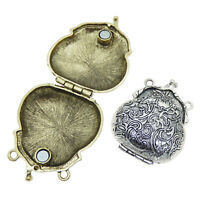2pcs Mixed Lots Engraved Pattern Lockets Alloy Pendants Charms Findings Crafts