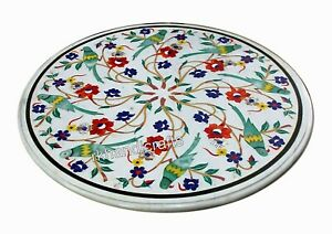 Coffee Table Top Pietra Dura Art Marble Patio Table with Antique Work for Home