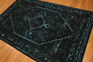 5' x 7' Traditional Oriental Area rug Dtressed 5x7 Black
