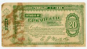 Usa/ Coupon-Studio of E.P. Waite & Co ... 20 Dollars ... 1895 ... *VF*. Brooklyn