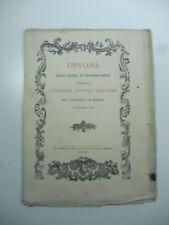 Ristampa ottocentesca del Diploma della laurea di Ludovico Muratori, 1894