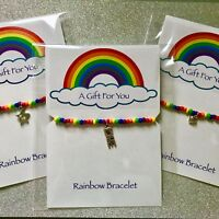 New Rainbow Bracelet ~ Great Gift idea ~ Beaded stretch with Charm ~ Pride LGBT